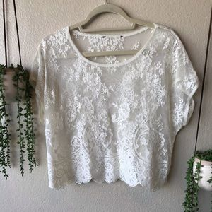 Forever 21 Boho Cream Lace Crop Top, Medium